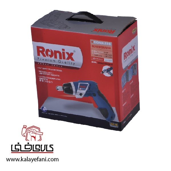 پیچ گوشتی شارژی تاشو رونیکس مدل 8536 لیتیوم 3.6 ولت 9 پیچ گوشتی شارژی رونیکس 8536